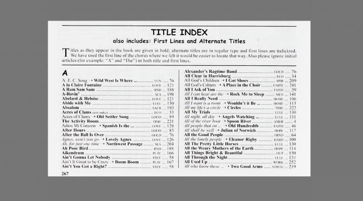 The book job song titles